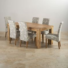 fb056d1803 Mantis Light Natural Solid Mango 6ft x 3ft Dining Table + 6 Patterned Grey Fabric  Scroll