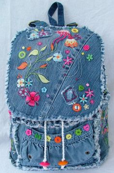 DENIM PATCHWORK BACKPACK.