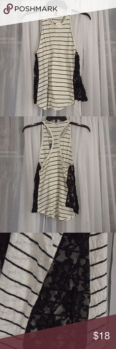 BDG Stripped Lace Tank NWT stripped tank with lace detailing. Razorback. BDG Tops Tank Tops