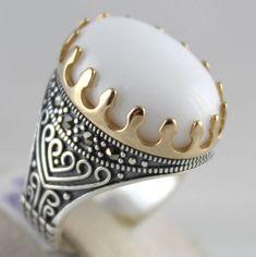 White-Yemeni-Yemen-Aqeeq-Agate-Stone-925-Sterling-SILVER-Turkish-Men-039-s-Fine-Ring