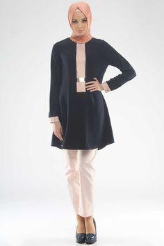 Modesty - Simli Şerit Detaylı Lacivert Tunik