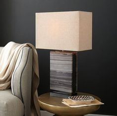 gray stone lamp // west elm