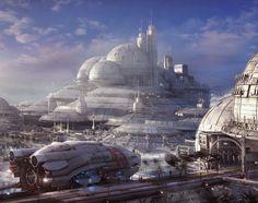 Futuristic City. Concept spaceship environments by Stefan Morrell. Futuristic Architecture, Future City