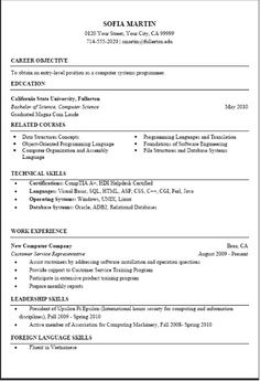 computer science resume template httpjobresumesamplecom1820computer - Computer Science Student Resume