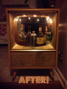 Retro TV Bar. Now I just need to see if I can talk Dad into letting me have that monster tv in the basement