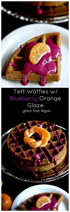Teff Waffles w/ Blueberry Orange Glaze (gluten free vegan) Delicious waffles packed with wholesome teff flour and blueberry-orange glaze