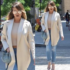 Chrissy Teigen out in NYC in The Row jacket, Rag & Bone pants and Gianvito Rossi shoes.