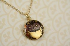 Small Yellow Owl Locket, Owl Necklace, Gold Owl Jewelry, 14kt Gold Filled Chain, Colorful Image, Owl, Gold Necklace by FreshyFig on Etsy https://www.etsy.com/listing/49224123/small-yellow-owl-locket-owl-necklace
