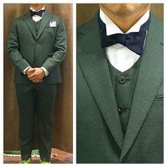 カジュアル新郎衣装,グリーンスリーピース  #新郎衣装 #タキシード #蝶ネクタイ  http://lifestyleorder.com/mens/wedding