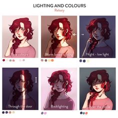 A few colour and lighting experiments while i work on a tutorial for simple shading, knowing what you think might help me improve it! These are all using the same base colours and the same technique but in different ways, i'll cover that in the tutorial. Digital Painting Tutorials, Digital Art Tutorial, Art Tutorials, Photoshop Drawing Tutorials, Digital Paintings, Drawing Techniques, Drawing Tips, Drawing Hair, Drawing Stuff