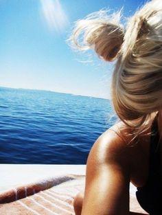 tan, blonde, at sea, happy