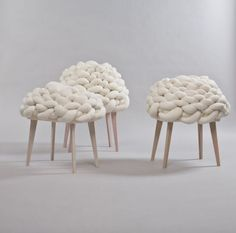 Cloud Stool Design by Joon (furniture,architecture,interiors,home decor,interior… Kids Furniture, Furniture Design, Eco Deco, Objet Deco Design, Knot Pillow, Knot Cushion, Stool Chair, Take A Seat, Inspired Homes