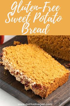 Gluten-free sweet potato bread from A Virtual Vegan is fluffy, sweet, and easy to make. This recipe is full of warm fall flavours. It's freezer-friendly, and great for sweet treats and snacks! Make this delicious, vegan bread recipe this fall and enjoy as a snack, dessert, and more! #recipe #sweetpotato #glutenfree #fallrecipe #dessert #vegan #baking Gluten Free Vegetarian Recipes, Vegan Dinner Recipes, Tofu Recipes, Vegan Breakfast Recipes, Delicious Vegan Recipes, Vegan Dinners, Dairy Free Recipes, Vegan Desserts, Bread Recipes