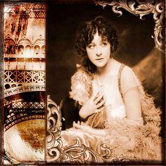 Vintage collage,genuine photo of beautiful lady beginning 1900 era