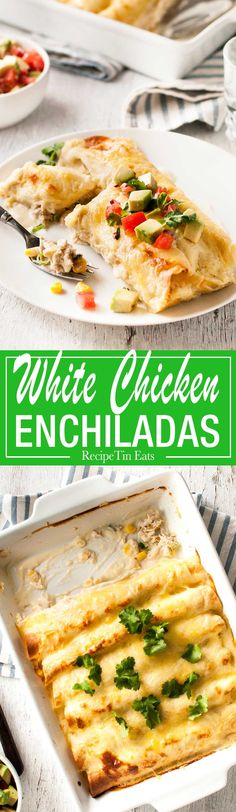 Made this for dinner the other night, the white sauce is INCREDIBLE! I added extra cheese - because I like my enchiladas EXTRA cheesy! This white sauce version of Enchiladas gives the classic a serious run for its money! Tostadas, Tacos, Burritos, Mexican Dishes, Mexican Food Recipes, Dinner Recipes, Frugal Meals, Easy Meals, Inexpensive Meals