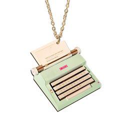 vintage typewriter necklace at http://www.etsy.com/listing/87411638/green-or-blue-vintage-typewriter-paper