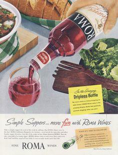 Items similar to Vintage Wine Ad Roma Red Wine Dinner Illustration Art Advertisement Print Restaurant / Winery / Bar Wall Decor on Etsy Vintage Wine, Vintage Ads, Wine Dinner, Wines, Red Wine, Liquor, Alcoholic Drinks, Bottle, Eat