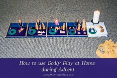 Ideas and resources for using the Montessori-based Godly Play at home during Advent. Perfect way for Christians of multiple ages to experience the mystery of Christmas - Living Montessori Now Advent Activities, Christmas Activities, Activities For Kids, Christmas Crafts, Homemade Christmas, Family Christmas, Xmas, Preschool Director, Sunday School Classroom