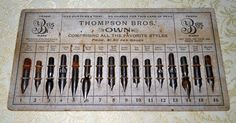 Thompson Bros' different pen nib salesman sampler. Judith Walker's Collection
