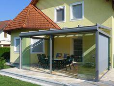Sommergarten - Wintergarten unbeheizt mit Glasdach und verschiebbaren Glas-Türen - Ganzglas-Schiebetüren mit 10 mm ESG-Glas