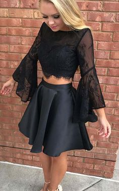 Two Piece Homecoming Dresses,Black Homecoming Dress,Long Sleeve