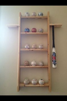 Knot You Usual Furniture. Baseball Display Shelf And Bat Rack Made From My  Boys Old