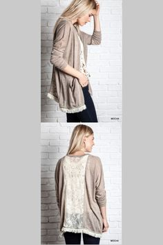 The fringe on this cardigan is so chic and the lace detail on the back adds a charming touch. Movie Outfits, Cute Outfits, Cute Cover Ups, Lace Silk, Lace Outfit, Lace Cardigan, Sewing Class, Class Projects, Kawaii Fashion