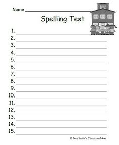 This is a spelling test template to use when giving a spelling ...