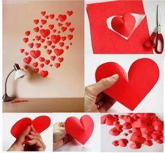 Para as românticas e românticos do momento essa linda decoração de corações, feita por você mesmo