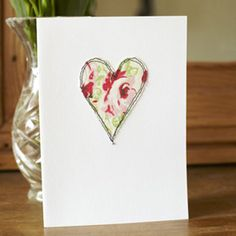 Embroidered heart card how to make a Mother's Day card great gift ideas allaboutyou.com