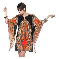 RESERVED 70s Dashiki Dress Bell Sleeve Mini Cotton Caftan 1970s Hippie... (2.575 RUB) ❤ liked on Polyvore featuring tops, tunics, cotton kaftan, bohemian tunic, bell sleeve tunic, long kaftan and long cotton tunic