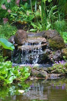 77 Awesome Small Waterfall Pond Landscaping Ideas - Page 10 of 74 Pond Waterfall, Small Waterfall, Backyard Water Feature, Ponds Backyard, Backyard Privacy, Backyard Ideas, Pond Landscaping, Landscaping With Rocks, Pond Design