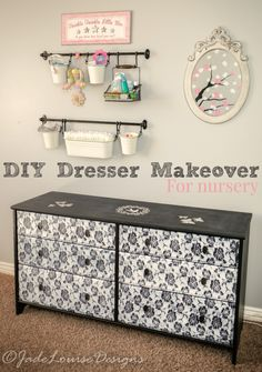 DIY Dresser Makeover for a nursery create an account an easy chic and whimsical dresser with paint and lace for a unique nursery dresser that can grow with the child.
