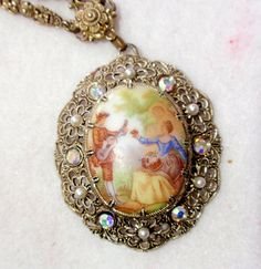 West Germany Vintage Filigree Necklace With Hand Painted Porcelain  Colonial Scene