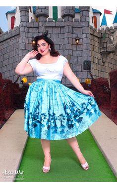 Jenny Skirt in Blue Castle Print - Plus Size
