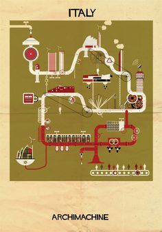 ARCHIMACHINE: 17 Countries Illustrated as Architectural Machines
