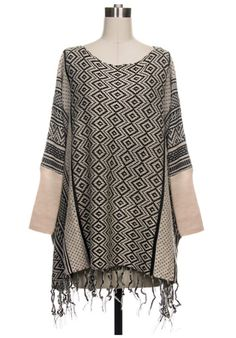 10.19.13 WOMEN'S OFFER. DIAMOND PRINT FRINGE PONCHO. SHOP HERE FOR $48 WITH FREE SHIPPING