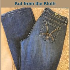Kut From The Kloth jeans Great pair of high quality denim jeans; with stretch. Very comfy!!! Waist is 17 laid flat; rise is 10 and inseam is 34. Great for a tall girl. Marked a 10, but probably would fit a 12 as well. In great pre-loved condition. Kut From The Kloth Jeans