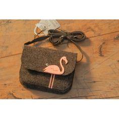 Etoi Design - szara torebka z flamingiem