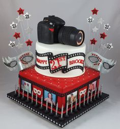 Masquerade - Camera Cake - cake by Lisa-Jane Fudge 18th Birthday Cake, Birthday Cake Girls, 65th Birthday, Fancy Cakes, Cute Cakes, Fondant Cakes, Cupcake Cakes, Ice Skating Cake, Camera Cakes