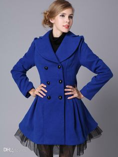 Wholesale Coats - Buy Vintage Blue Wool Double Breasted Women's Long Coat R93 #u11-XC4, $65.26   DHgate