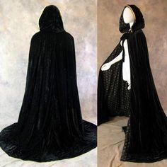 Lined Black Velvet Gold Fleur De Lis Renaissance Cloak Cape Wedding Wicca SCA #Artemisia