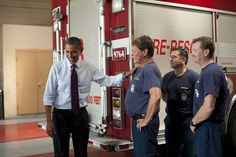 Barack Obama talks to fire fighters in Virginia