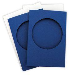 Frame Card - Deckle Edge Round - Hammer Blue