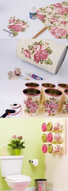 Recycling idea tin can, tutorial for creating a . - Do it yourselfIdea to recycle tin can, tutorial to create a towel rack in the bathroom from custom-made cans with flowers, decoupage technique, simple decoration Home Crafts, Diy And Crafts, Arts And Crafts, Upcycled Crafts, Decor Crafts, Recycled Tin Cans, Decoupage Tins, Decoupage Tutorial, Craft Projects