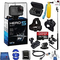 Gopro Hero 5 Black 14 Piece Epic Bundle Includes: Go Pro Hero5 Black + Case + Floaty Bobber + Head Strap + Glove Mount + Monopod + More