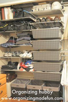 organizing a man's closet area