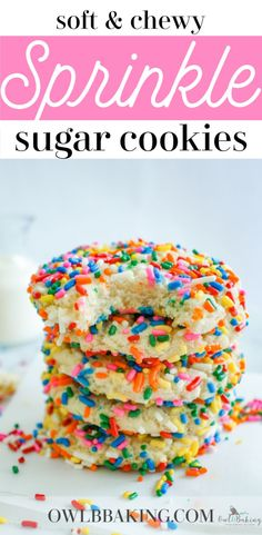 sprinkle cookies These easy Sprinkle Sugar Cookies are soft, thick, super chewy and better than anything youd get in a bakery! This classic recipe is one youll want to make over and over again. This is a great make-ahead cookie and requires no chill time! Sugar Cookies With Sprinkles, Chewy Sugar Cookie Recipe, Sprinkles Recipe, Chocolate Sugar Cookies, Rolled Sugar Cookies, Sprinkle Cookies, Easy Cookie Recipes, Chocolate Ganache, Thumbprint Cookies