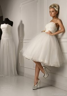 i'm going to have an engagement party and for that I would like a short wedding dress :) capelli couture bridal 2013 juliana strapless ball gown short wedding dress