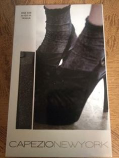 fe9041ed9ca WOMENS CAPEZIO NEW YORK METALLIC ANKLET BLACK SILVER HOSIERY SOCKS SEXY NIB  886275024442 eBay METALLIC ANKLET BLACK